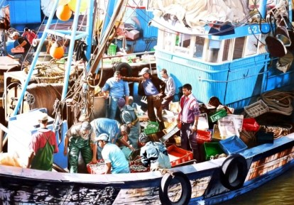 Brian Fleming, Unloading Fish, Essaouira, Morocco