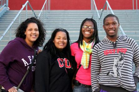 Mentors from the MOSAIC program (L-R) Christina Monterde, 18, freshman broadcast major, Shalisa Craig, 17, freshman business major, Jasmine Ashley, 21, junior social welfare major and Marcel Winchester, 18, freshman business and finance major pose on the site of Jeopardy program, one of MOSAIC's four site. Photo Credit: Hannah Pedraza / Photo Editor