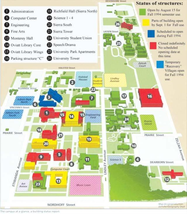 Years After Northridge Earthquake CSUN Is Not Just Back - Csu campus map