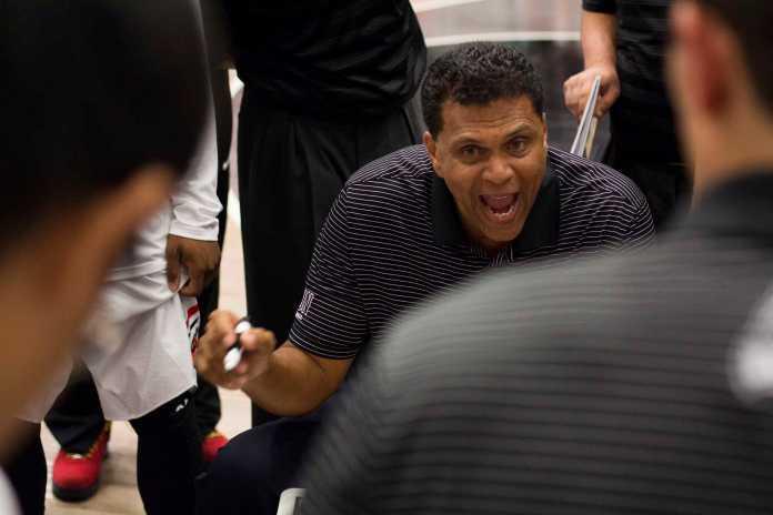 Reggie Theus coaching the basketball team at CSUN along side with his son, Reggis Theus Jr.