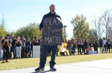 Speakers stepped up to share their views as to the events that occurred at the University of Missouri at the CSUN Oviatt Lawn on Wednesday, Nov. 18, 2015. (Raul Martinez / The Sundial)