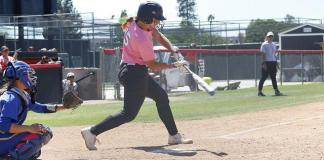CSUN softball player hits ball from home base