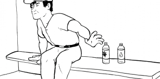 Cartoon of man choosing between two water bottles