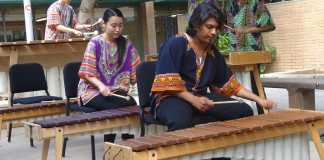 Several students pictured playing marimbas
