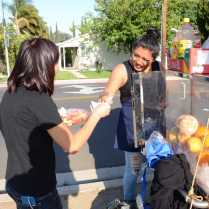 Vendor sells fruit tray