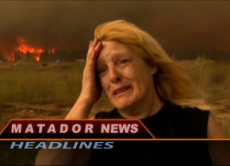 Matador News still shows a fire on the countryside and a woman crying