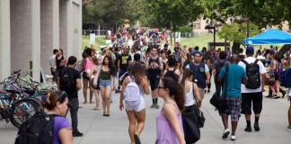 CSUN students crowd the walkways between classes