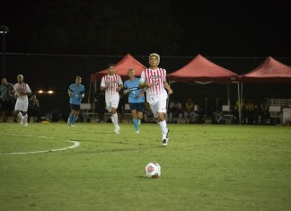 CSUN player runs towards ball