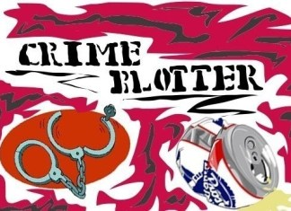 """Art piece shows the words """"Crime Blotter"""" above a pair of open handcuffs and a crushed beer can"""