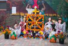 Photo shows altar made entirely of pinatas