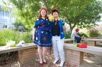 Students dressed up as Ms. Frizzle from the magic school bus and Ash from Pokemon