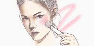 Realistic illustration shows girl putting on blush