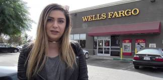 Reporter shown at Wells Fargo bank