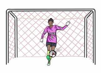 Illustration shows CSUN goalie kicking the ball