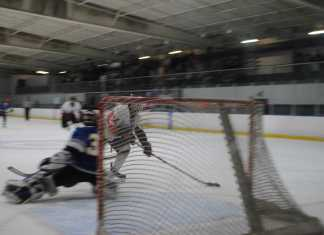 Hockey player shoots for the goal