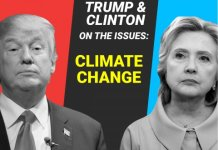 "Photo shows Clinton and Trump, Text reads: ""Trump and Clinton on the issues: Climate Change"""
