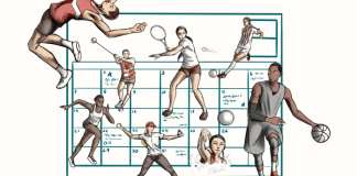 Illustration shows a Calandar behind various female athletes