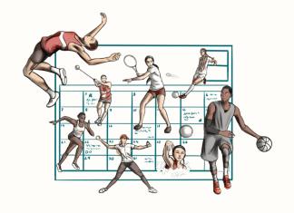 Illustration shows a Calandar behind various female athletes