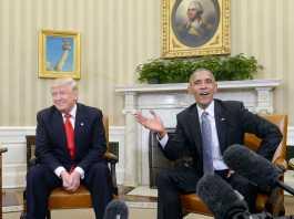 Barack Obama speaks with Trump