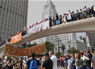 Downtown LA is crowded with anti-trump protesters