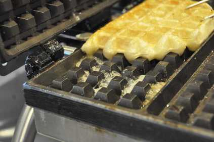 Waffles pictured on the grill