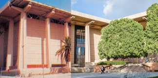 Half of the photo shows the Oviatt Library recently after the Northridge earthquake, the other half shows the Oviatt Library in 2017