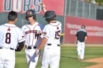 csun players high five eachother