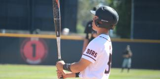 csun baseball player looks at his bat