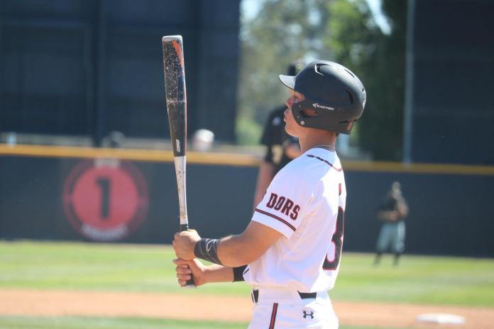 csun baseball player looks at his bat