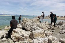 Geomorphology students taking a look at the exposed tufas