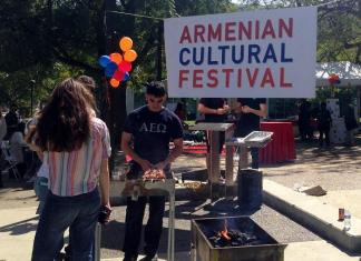 students barbique food at the armenian culture festtival