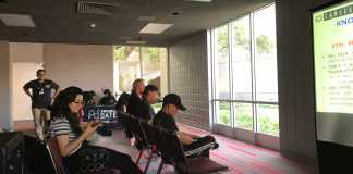 "csun students watch a powerpoint presentation called ""know your rights"""