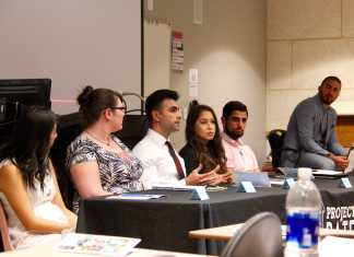 A panel of students for project D.A.T.E lead a discussion about ending rape culture