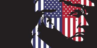 Illustration shows a sillouette of donald trump's face with an american flag print