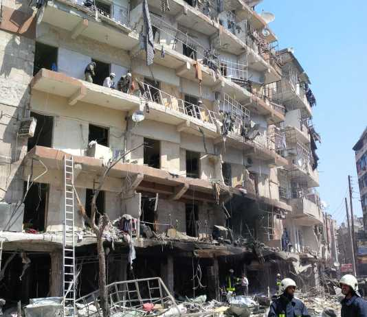 A syria building pictured, partailly distroyed by the bombing