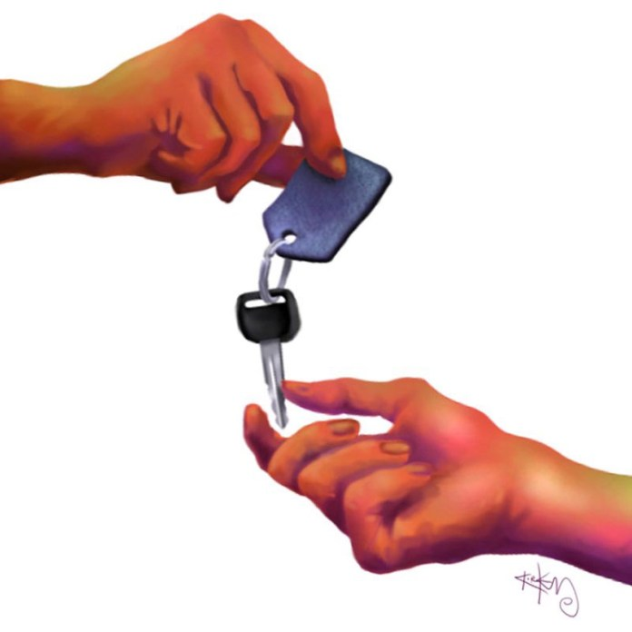 illustration of two hands, one hand is giving car keys to the other hand