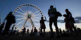 blurry people walk near giant ferris wheel