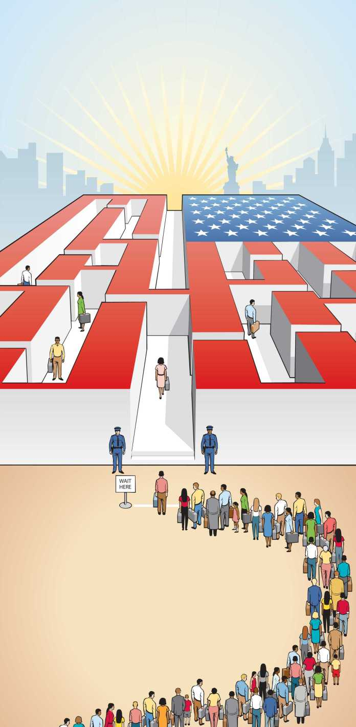 drawing of people in line to go into american flag maze