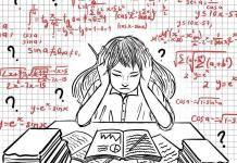 drawing of woman with equations and question marks surrounding her