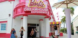 entrance to Barbie the Dream House Experience store