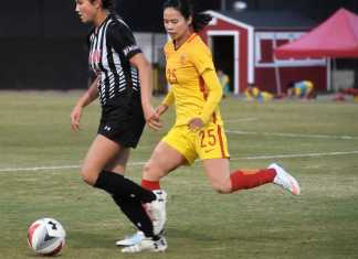 CSUN soccer player defending ball