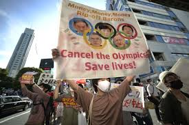 Protests held in Tokyo against Olympics during opening ceremony