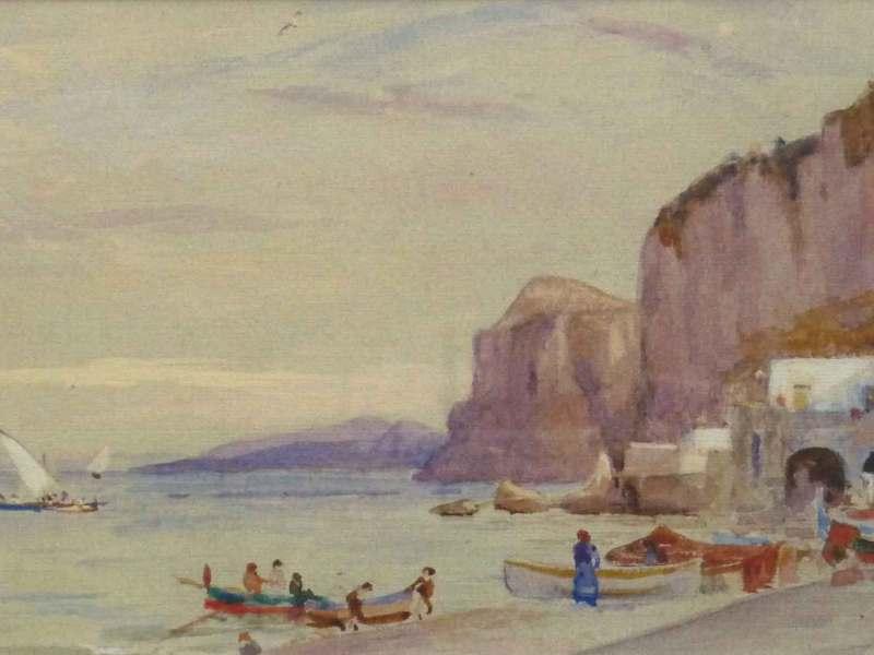 Boats at Corsica, Edward Francis Wells