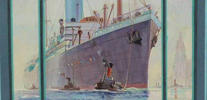 Original watercolour of the Blue Funnel Line, dated 1923 with hand painted calender (July 1924). Monogrammed a.p./ O.P. Produced for Alf Cooke Ltd. Leeds and London.