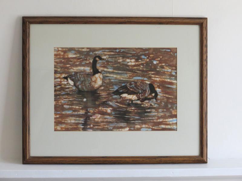 Framed silkscreen print of Canada geese