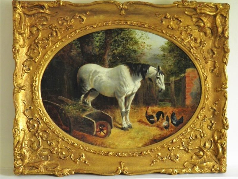 A Grey Horse in a Farmyard with Chickens,, John Frederick Herring Junior