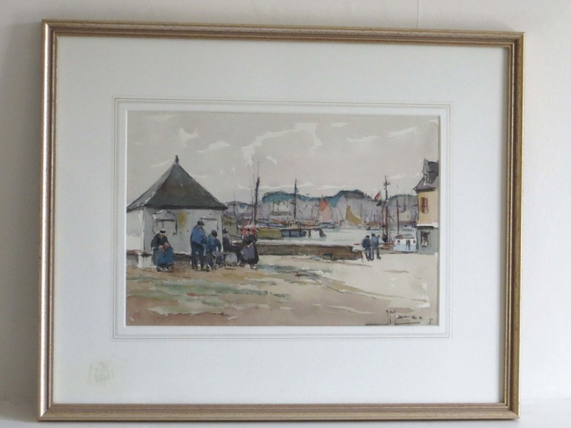 Breton Fishermen, J Marce, painting of fishermen