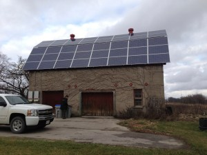 Old barn before awning solar panel system