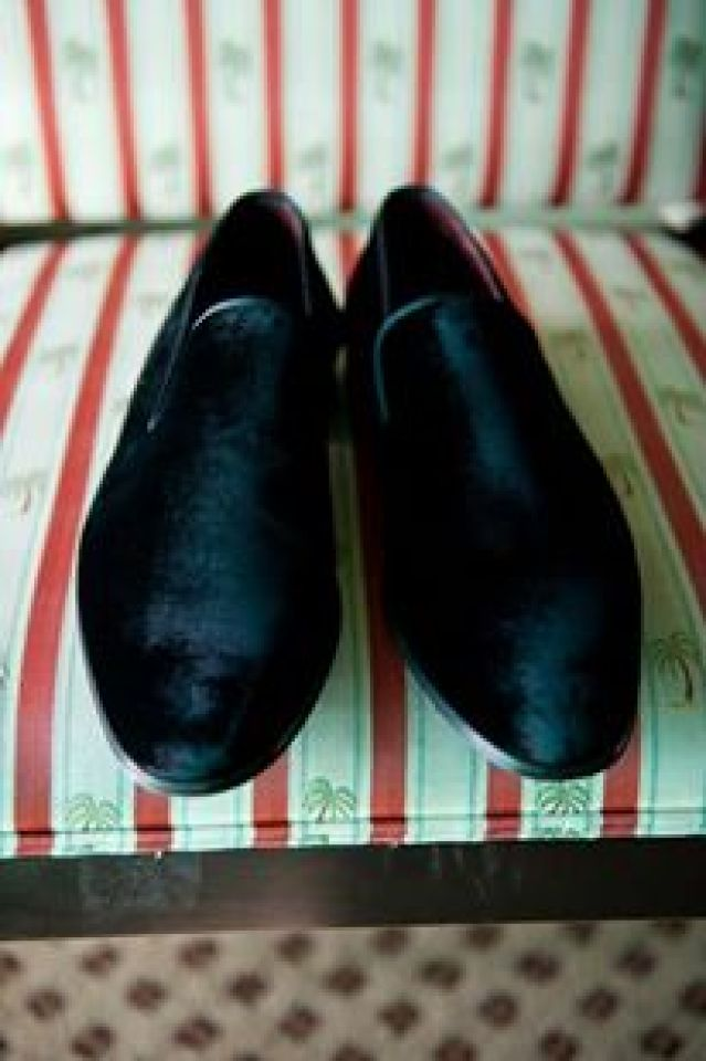 Men's suede tuxedo shoes