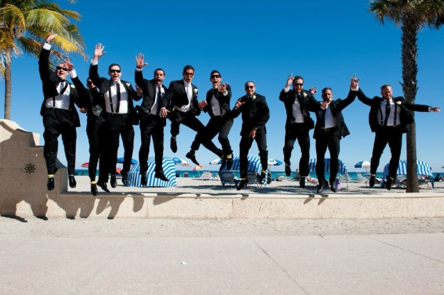Groomsmen jumping shot
